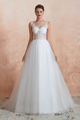 A Line Sleeveless Tulle Lace Jewel Bridal Dresses Button Back_10