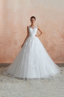Hot Lace Ball Gown Wedding Dresses Jewel Sleeveless Button_7