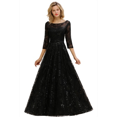 Scoop neck Long Sleeves Black Prom Dresses with Sparkly Floral Designs_1