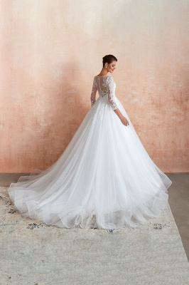 Hot Ball Gown Jewel 3/4 Sleeves Lace Wedding Dresses Button Back_4