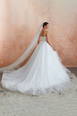 A Line Spaghettis Straps Tulle Wedding Dresses Lace Up Back_12