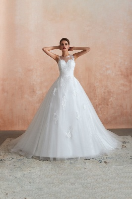 Hot Lace Ball Gown Wedding Dresses Jewel Sleeveless Button_11