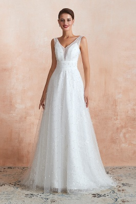 A Line Floor Length Tulle V Neck Pearls Bridal Dresses_5