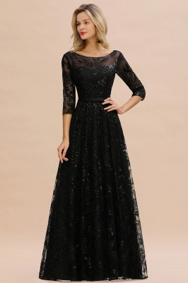 Scoop neck Long Sleeves Black Prom Dresses with Sparkly Floral Designs_2