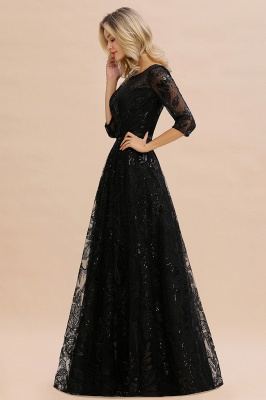 Scoop neck Long Sleeves Black Prom Dresses with Sparkly Floral Designs_6