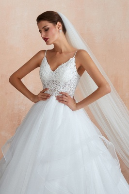 A Line Spaghettis Straps Tulle Wedding Dresses Lace Up Back_7