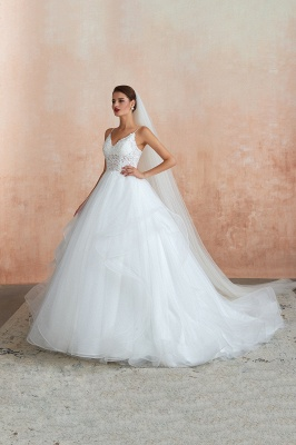 A Line Spaghettis Straps Tulle Wedding Dresses Lace Up Back_3
