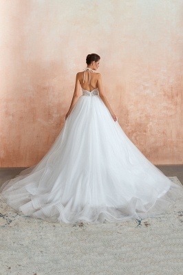 Sexy Ball Gowns Lace Tulle Backless Halter Wedding Gowns_7
