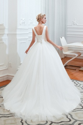 Sexy Tulle V Neck Ball Gown Wedding Dresses Sleeveless Lace Up_12