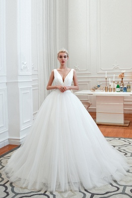 Sexy Tulle V Neck Ball Gown Wedding Dresses Sleeveless Lace Up_13