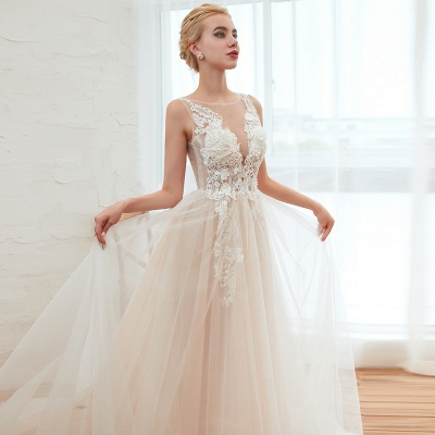 Sexy Sheath Sleeveless Tulle Lace Bridal Gowns lace Up_19
