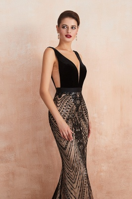 Sexy Pluging V-neck Black Complicated Style Evening Dress_8