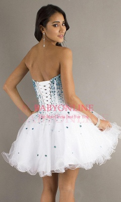 A Line Short Lace Sweetheart Organza Homecoming dresses_3