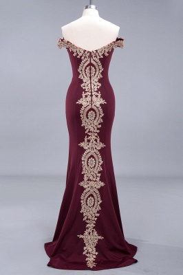 Simple Off-the-shoulder Burgundy Formal Dress with Lace Appliques_11