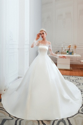 A line Off the Shoulder Lace Up Long Sleeves Wedding Dresses_1