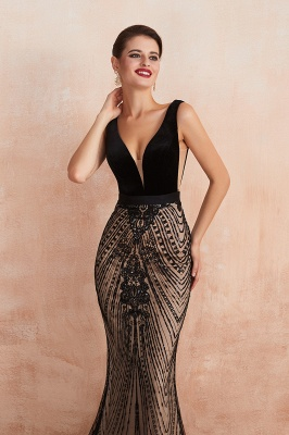 Sexy Pluging V-neck Black Complicated Style Evening Dress_10