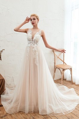 Sexy Sheath Sleeveless Tulle Lace Bridal Gowns lace Up_6