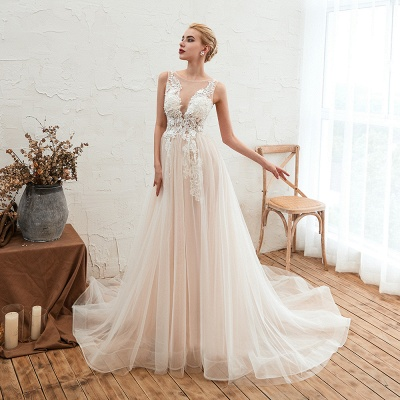 Sexy Sheath Sleeveless Tulle Lace Bridal Gowns lace Up_8