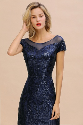 Long Sequined Cap sleeves Scoop neck Formal dress for Prom_5