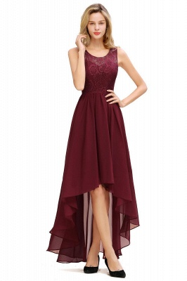Simple Affordable Sleeveless Burgundy Lace High Low Formal Dress_5