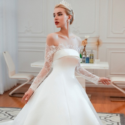 A line Off the Shoulder Lace Up Long Sleeves Wedding Dresses_16
