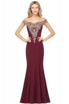 Simple Off-the-shoulder Burgundy Formal Dress with Lace Appliques_6
