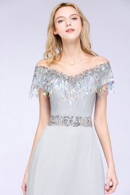 A-line Jewel Short Sleeves Sequins Evening Dress with Tassels On Sale_6