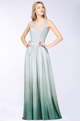 A-line Ruffles V-Neck Long Evening Dress On Sale_4