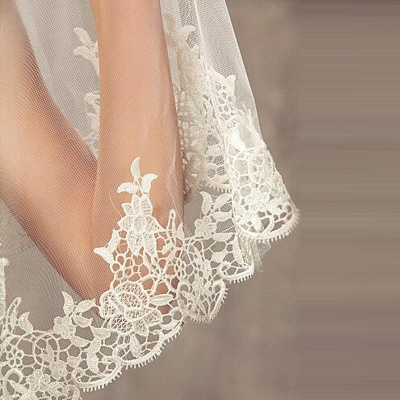 Lace Edge Bridal Veils with Comb Soft Tulle Wedding Veil_3
