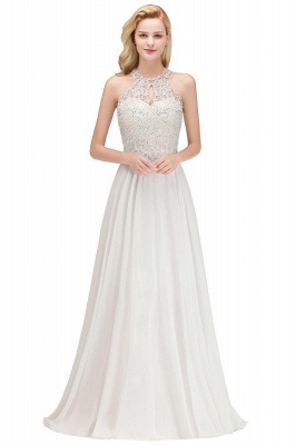 A-line Pink Pears Beaded Halter Bridesmaid Dresses_5