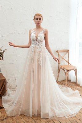 Sexy Sheath Sleeveless Tulle Lace Bridal Gowns lace Up_9