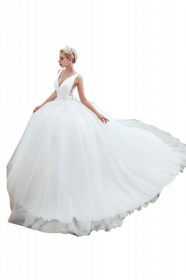 Sexy Tulle V Neck Ball Gown Wedding Dresses Sleeveless Lace Up_6