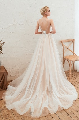 Sexy Sheath Sleeveless Tulle Lace Bridal Gowns lace Up_16
