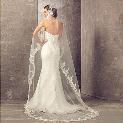 Lace Edge Bridal Veils with Comb Soft Tulle Wedding Veil_2
