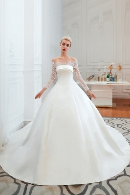 A line Off the Shoulder Lace Up Long Sleeves Wedding Dresses_10