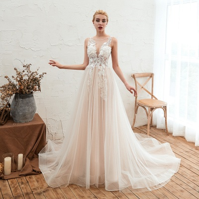 Sexy Sheath Sleeveless Tulle Lace Bridal Gowns lace Up_11