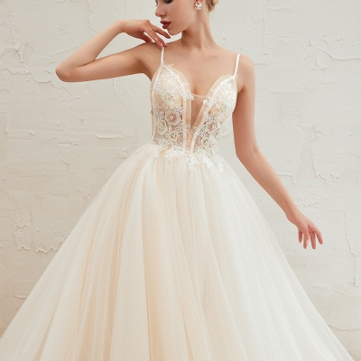 Sexy Sleeveless V Neck Tulle Ball Gown Wedding Dresses with Zipple_22