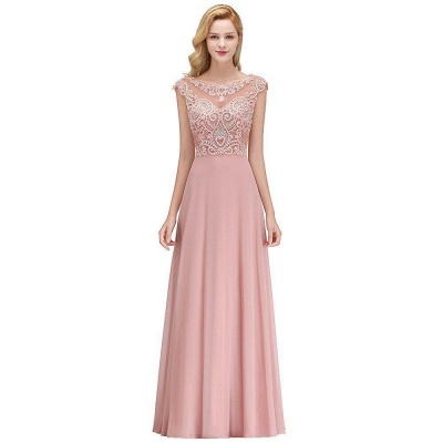 Cheap A-line Bridesmaid Dress Tulle Lace with Pearls_1