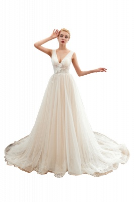 Sexy A Line Sleeveless Tulle Wedding Gowns lace Up_1