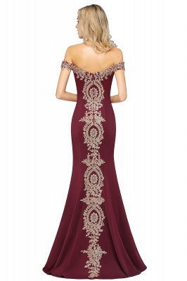 Simple Off-the-shoulder Burgundy Formal Dress with Lace Appliques_42