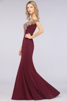 Simple Off-the-shoulder Burgundy Formal Dress with Lace Appliques_40