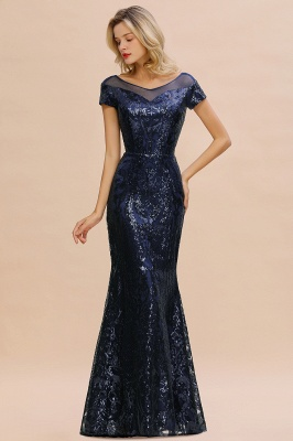 Long Sequined Cap sleeves Scoop neck Formal dress for Prom_2