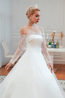 A line Off the Shoulder Lace Up Long Sleeves Wedding Dresses_18