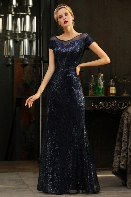 Long Sequined Cap sleeves Scoop neck Formal dress for Prom_7