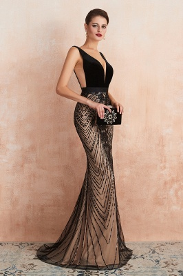 Sexy Pluging V-neck Black Complicated Style Evening Dress_5