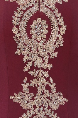 Simple Off-the-shoulder Burgundy Formal Dress with Lace Appliques_41