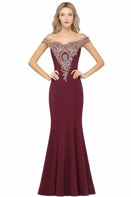 Simple Off-the-shoulder Burgundy Formal Dress with Lace Appliques_2