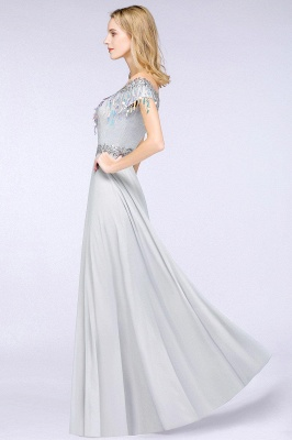 A-line Jewel Short Sleeves Sequins Evening Dress with Tassels On Sale_5