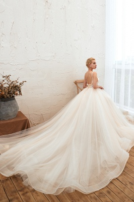 Sexy Sleeveless V Neck Tulle Ball Gown Wedding Dresses with Zipple_8