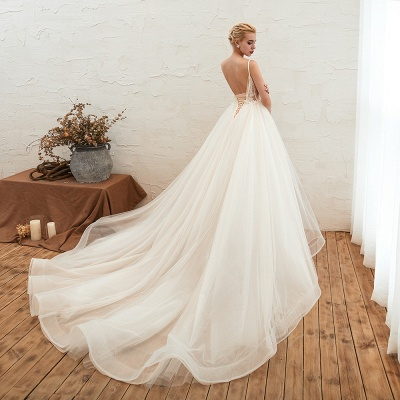 Sexy Sleeveless V Neck Tulle Ball Gown Wedding Dresses with Zipple_10